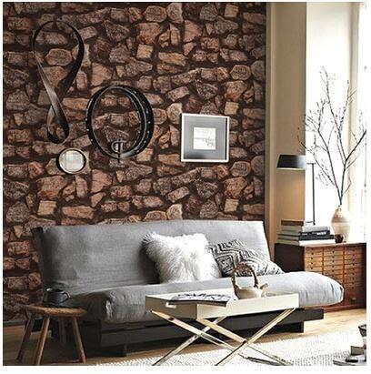 复古英文字母石块石纹石头PVC壁纸 客厅卧室会所咖啡馆背景墙纸