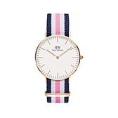 【Daniel Wellington】CLASSIC瑞典時尚品牌經典簡約尼龍腕錶-白粉藍x玫金-36mm/DW00100034/原廠兩年保固