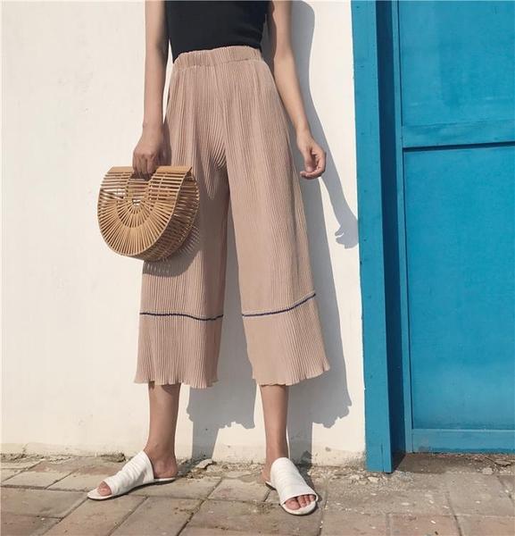 [超豐國際]夏復古寬松條紋簡約純色壓褶闊腿褲女高腰休閑百搭七1入