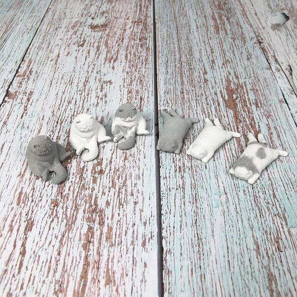 BEAGLE 水泥貓擺件 灰/白/灰白色 多肉植物造景 苔蘚微景觀擺件 擺件DIY材料