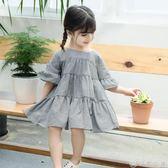 中小大女童童裝夏季新款坑條洋裝100-140碼6300 優家小鋪