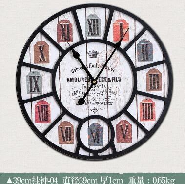 歐式客廳鐘錶復古木質掛鐘地中海牆面裝飾品家居創意壁掛