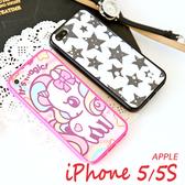蘋果 APPLE iPhone 5 5S 仿皮紋 卡通彩繪螢幕貼 粉紅 花朵 星星 蕾絲 保護貼(雙面)