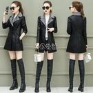 皮衣女中長款新款韓版寬鬆加厚網紅夾克pu皮棉外套潮快速出貨