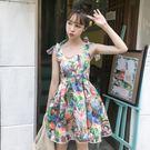 夏新品韓版小清新印花蝴蝶結背帶裙收腰顯瘦...