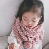 冬季男女兒童毛線圍巾小孩針織保暖毛球脖套韓版防風防寒套頭圍脖