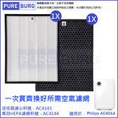 現貨可刷卡❗️適用PHILIPS飛利浦AC4014智慧防護空氣清淨機濾網組HEPA+活性碳濾心(AC4143 + AC4144)