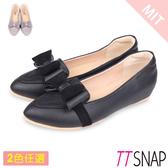 內增高-TTSNAP MIT時尚蝴蝶結真皮後跟沙發低跟鞋 黑/灰