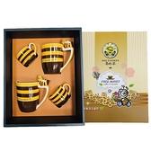 文創杯A款-蜜蜂造型馬克杯13oz*2+橫條造型咖啡杯5oz*2【養蜂人家】