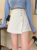 褲裙 秋裝2020年新款女韓版設計感綁帶白色半身裙高腰A字顯瘦短褲裙子 小宅女