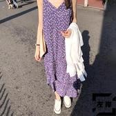 碎花吊帶裙輕熟風紫色法式茶歇小個子連身裙子女夏【左岸男裝】