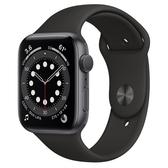 【新機現貨】Apple Watch S6 GPS 44mm 太空灰色鋁金屬-黑色運動型錶帶【開啟你的健康心生活】