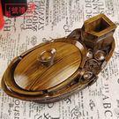 送禮物男士個性時尚創意煙灰缸帶蓋大號木紋...