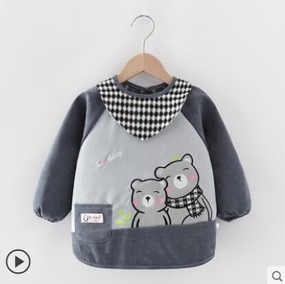 兒童罩衣秋冬長袖防水寶寶吃飯防臟圍兜嬰兒喂飯衣倒褂小孩反穿衣