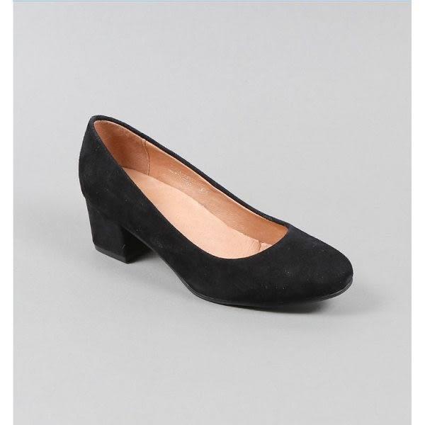 ALL BLACK 簡約美型全小尖頭粗高跟鞋-黑色