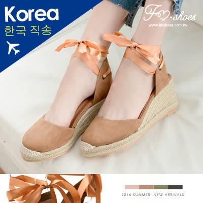 楔型.緞面綁帶楔型草編包頭涼鞋-FM時尚美鞋(黑、黃棕)-韓國精選.Tale
