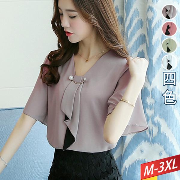 垂帶凹領上衣+穿珠(4色) M~3XL【753310W】【現+預】-流行前線-