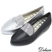 Deluxe-全真皮少女時代水鑽內增高包鞋-黑★銀