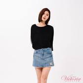 Victoria 蕾絲花邊剪接寬鬆七分袖T-女-Y85096(領劵再折)