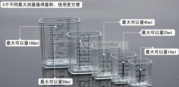 [協貿國際]  精品高透明五件套全透明PC釣魚量杯