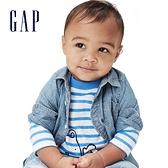 Gap嬰兒 布萊納小熊印花T恤 760618-藍色條紋