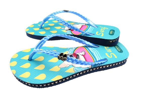 QWQ創意鞋- Surf 施華洛世奇水鑽夾腳人字拖鞋-藍 (史帝夫系列 )
