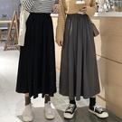 半身裙褶皺女春秋新款韓版高腰中長款A字裙學生顯瘦黑色裙子