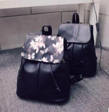 預購-歐美風高檔PU花卉圖案雙肩後背包
