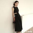 無袖洋裝 夏裝時尚流行赫本風無袖露腰心機小黑裙氣質連身裙收腰顯瘦長裙女 【618 購物】