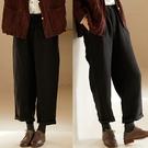 天然洗水亞麻率性黑色直筒長褲寬鬆大碼寬管/設計家 K20787