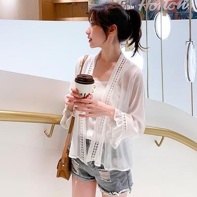薄款雪紡長袖防曬衣披肩開衫女夏季新款小外套外搭配牛仔褲G447-H胖妞衣櫥
