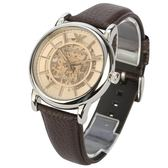 EMPORIO ARMANI復古香檳金自動上鍊機械皮革腕錶45mm(AR1982)270318