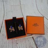 BRAND楓月 HERMES 愛馬仕 EILEEN 玫瑰金X寶藍色 經典弧面 H耳環