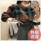 ✦Styleon✦正韓。暖冬絨毛格紋蕾絲勾邊圓領長袖上衣。韓國連線。韓國空運。1121。現貨