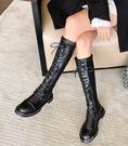 長靴長筒靴女秋季秋冬新款加絨百搭瘦瘦過膝高筒中筒馬丁騎士長靴 快速出貨