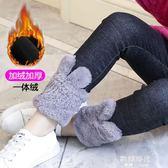 女童牛仔褲裝兒童裝加絨加厚長褲子女寶寶洋氣保暖褲 歐韓時代