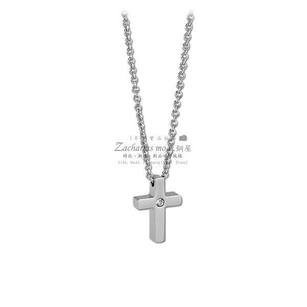 『Z-MO鈦鋼屋』316L抗過敏不生鏽,西德鈦鋼精緻鎖骨鍊、十字架鎖骨項鍊~【ASS199】