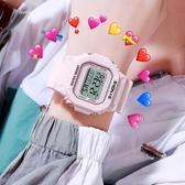 手錶 網紅抖音超火抹茶綠手錶女風獨角獸小方錶防水初中學生電子錶