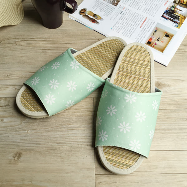 小清新真草蓆拖-草蓆室內拖鞋-清新小花-綠