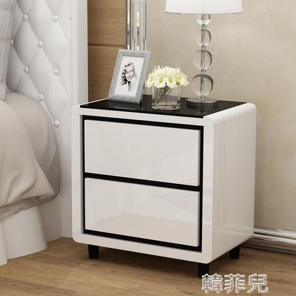床頭櫃 簡約現代 收納櫃儲物櫃臥室小櫃子迷你床邊櫃白色簡易 mks韓菲兒