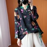 中國結古典風印花顯瘦上衣-大尺碼 獨具衣格 J3182