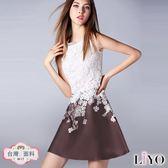 洋裝歐風蕾絲拼接繡花優雅洋裝LIYO理優O816002