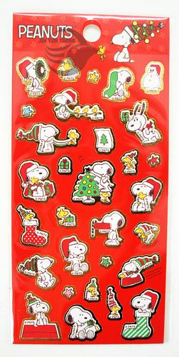 SNOOPY貼紙 史努比 正版授權 聖誕裝飾 卡片佈置 SN-ST03 紅款 【金玉堂文具】