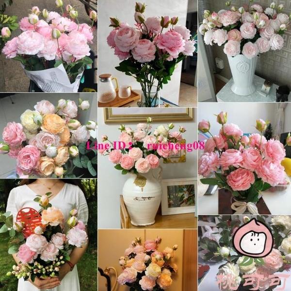 假花室內客廳裝飾花擺件餐桌花擺設防真玫瑰花干花花束【桃可可服飾】