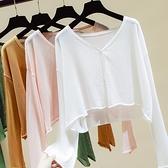 披肩 防曬女外搭披肩夏季空調衫配裙子長袖超薄款短款冰絲針織開衫上衣-Ballet朵朵