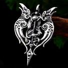 《QBOX 》FASHION 飾品【CBP-456】精緻個性歐美復古維京雙鸚鵡圖騰鑄造鈦鋼墬子項鍊/掛飾