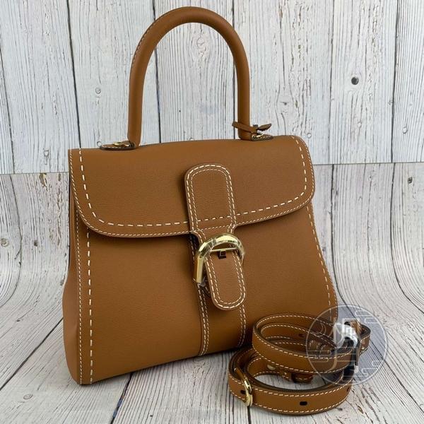 BRAND楓月 DELVAUX 德爾沃 焦糖色 皮革 金釦 BRILLANT MM 兩用包 手提包 側背包 斜背包