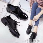 皮鞋英倫女鞋單鞋女夏女韓版百搭夏天學生中跟黑色粗跟 檸檬衣舍