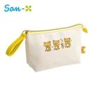 【日本正版】拉拉熊 帆布 化妝包 收納包 鉛筆盒 筆袋 懶懶熊 Rilakkuma San-X - 708111