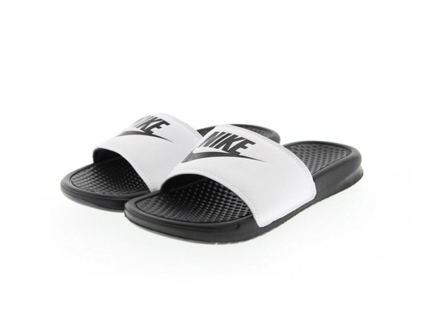 ISNEAKERS Nike Benassi Swoosh JDI 男女鞋 拖鞋 白底黑字 黑白 343880-100